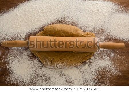Sodrófa liszt fa asztal fej kilátás telefon Stock fotó © wavebreak_media
