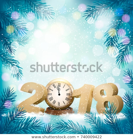 2018 new year number golden confetti on dark background. Clock face dial with Roman numerals show mi Stock photo © orensila