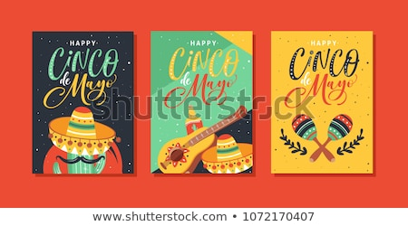 Cinco de mayo card template with mexican hat and food Stock photo © bluering