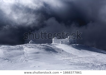 winter landscape with the old observatory in the mountains stock photo © kotenko