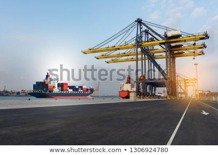 Ciężarówka morza portu ciężarówki noc statku Zdjęcia stock © joyr