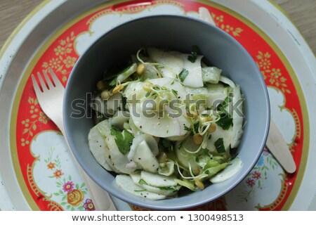saláta · fenyőfa · diók · narancs · vacsora - stock fotó © is2