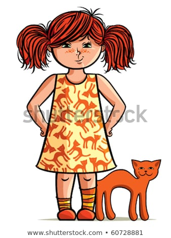 Red-haired little girl portrait. Female child freckles. Vector i Stock photo © MaryValery