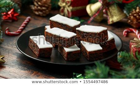 Jeges karácsony torta szelet hópehely csillag Stock fotó © marilyna