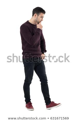 Porträt · nachdenklich · Gentleman · blau · Anzug · schauen - stock foto © feedough