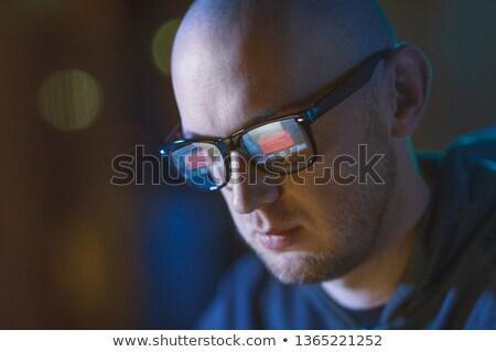 Bald Hacker Gläser Hacking Menschen Stock foto © dolgachov
