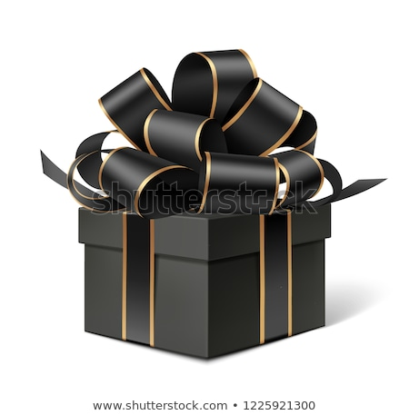luxury black gift boxes with gold ribbon stock photo © illia