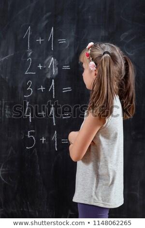 Meisje wiskunde schoolbord achteraanzicht bril Stockfoto © AndreyPopov