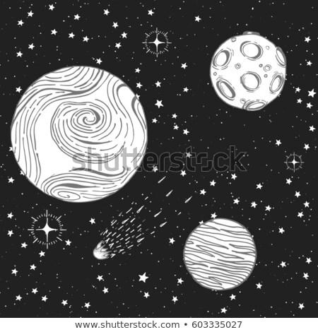 Ufo star gece gökyüzü vektör ikon nesne Stok fotoğraf © blaskorizov