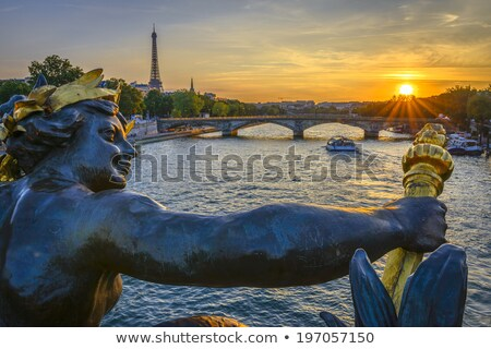 eiffel tower and pont alexandre iii at sunset stock photo © vapi