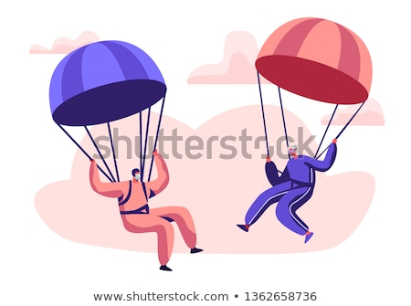 Person doing sky diving in the sky Stock photo © colematt
