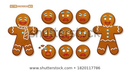 üzücü karikatür gingerbread man örnek bakıyor gıda Stok fotoğraf © cthoman