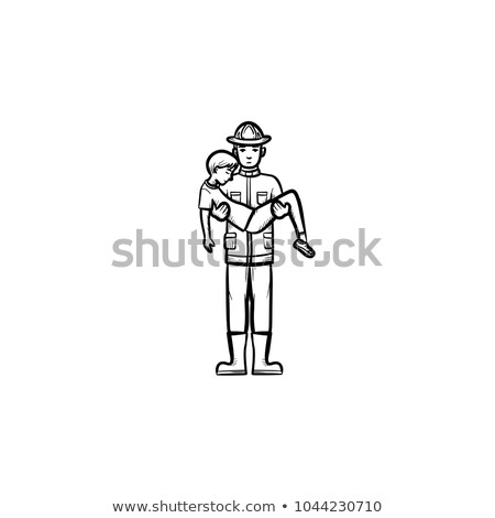 Strong fireman rescuing a person sketch icon. Stock photo © RAStudio
