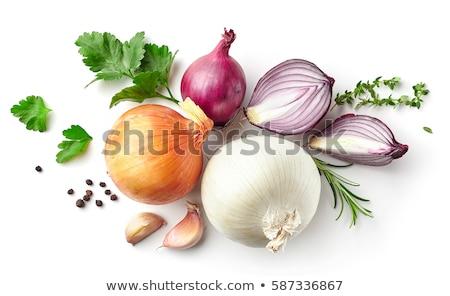 Fraîches ensemble oignons persil couleurs faible Photo stock © homydesign