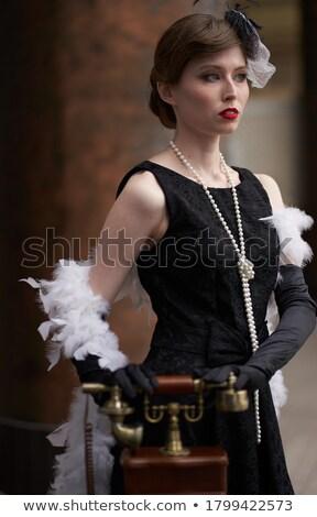 w · stylu · retro · dość · dziewczyna · biały · vintage · sukienka - zdjęcia stock © doodko
