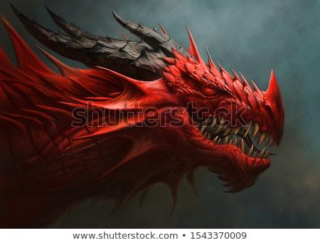синий · дракон · Cartoon · Flying · огня - Сток-фото © colematt