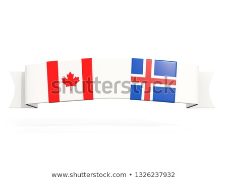 banner with two square flags of canada and iceland stock photo © mikhailmishchenko
