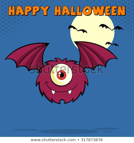 furry one eyed monster cartoon character flying with text stock photo © hittoon