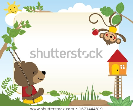 Foto stock: Border Template With Cute Monkeys