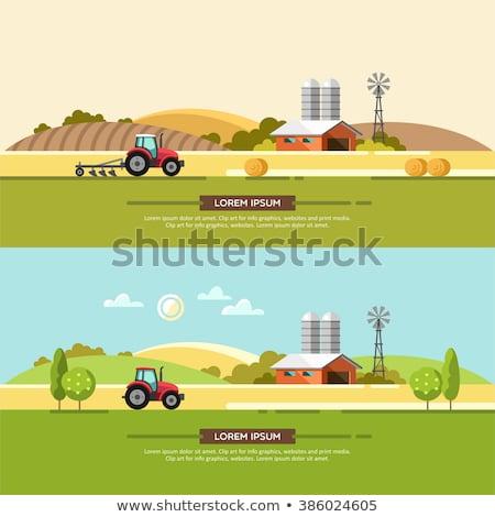 Traktör çiftlik sahne gökyüzü bahar çim Stok fotoğraf © makyzz