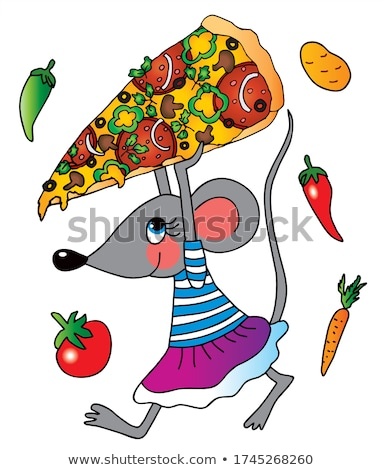 Funny Cheese Cartoon Character Holding A Pizza Stock photo © hittoon
