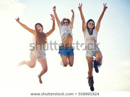 jeune · fille · studio · heureux · sautant · fond · blanc - photo stock © giulio_fornasar