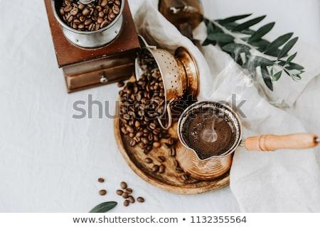 Török kávé sötét klasszikus fém csésze Stock fotó © grafvision