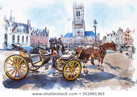 watercolor Carriage in Bruges Stock photo © unkreatives