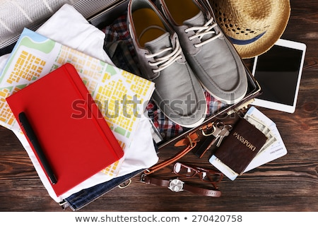 Time to Travel, Packed Baggage, Bag with Shoes Stock photo © robuart