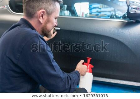 Adam araba Filmi etiket su kapı Stok fotoğraf © Kzenon