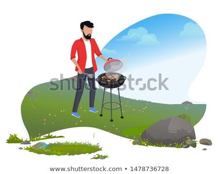 szakács · barbecue · férfi · kutya · boldog · nap - stock fotó © robuart