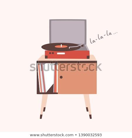 Vinilo registro escuchar música retro vector Foto stock © pikepicture