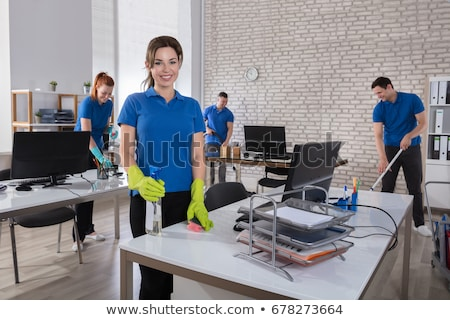 Happy Janitors Cleaning Office Stock photo © AndreyPopov