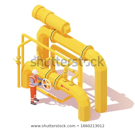 Vector isometric gas or oil production operator opens pipeline valve Stock photo © tele52