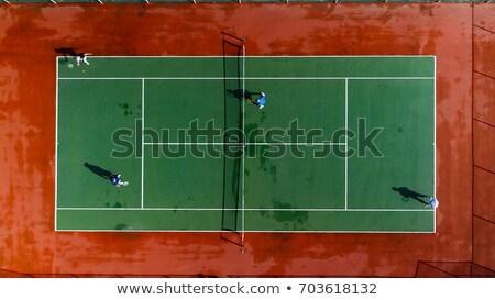 Nat tennisbaan Rood groene najaar kleur Stockfoto © bobkeenan