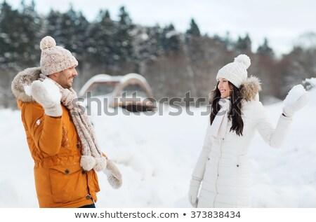 two young women play to snowballs Stock photo © Paha_L