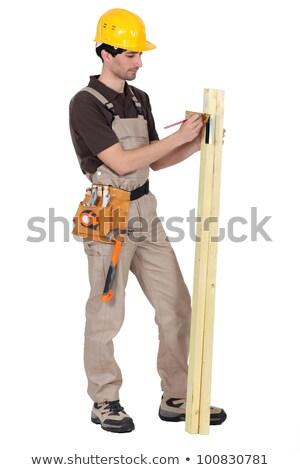 Handlowiec placu twarz drewna budowy pracy Zdjęcia stock © photography33