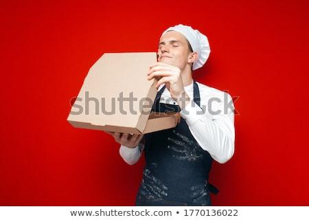 genç · şef · hazır · İtalyan · pizza · mutfak - stok fotoğraf © vladacanon