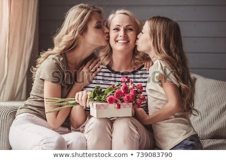 nő · csók · lánygyermek · család · gyermek · modell - stock fotó © photography33