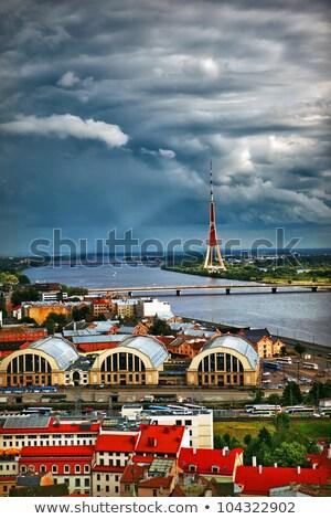 Stockfoto: Europese · unie · glazen · gebouw · vlaggen · hemel