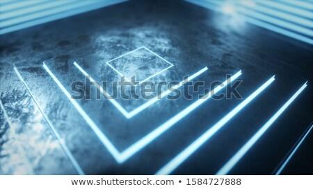 blue luminous cubic perspective Stock photo © Artida