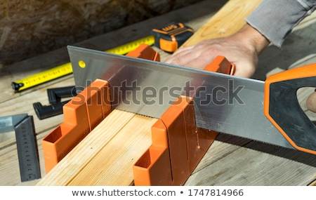 Carpenter with wood slats and saw Stock photo © photography33