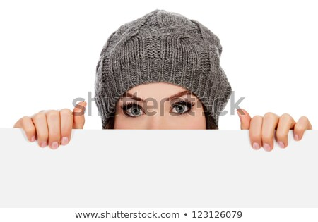 Young woman with a hat and a panel for message Stock photo © photography33