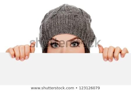 若い女性 · 帽子 · パネル · メッセージ · 夏 · 代 - ストックフォト © photography33