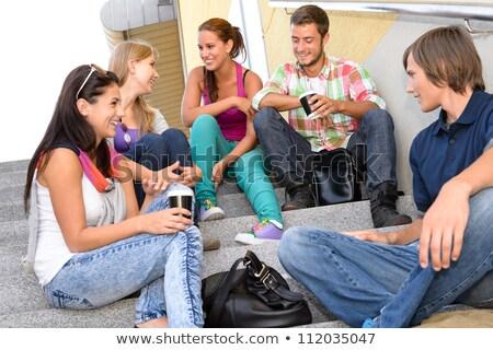 подростков говорить лестницы школы счастливым образование Сток-фото © photography33