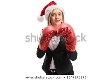 Businesswoman in combat position on white Stock photo © pzaxe