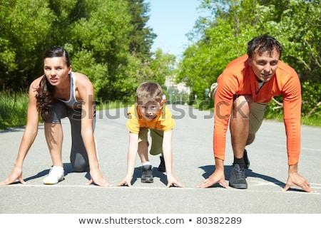 Jongen start lopen park gelukkig hart Stockfoto © OleksandrO