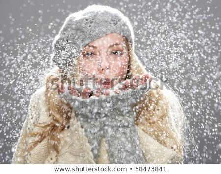 Chłodny zimą moda dziewczyna portret piękna Zdjęcia stock © lithian