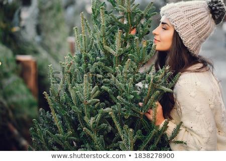 lány · karácsonyfa · haj · divat · lövés · mosolyog - stock fotó © carlodapino