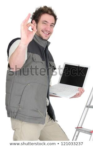 tuiles · utilisant · un · ordinateur · portable · ordinateur · travaux · portable · travailleur - photo stock © photography33